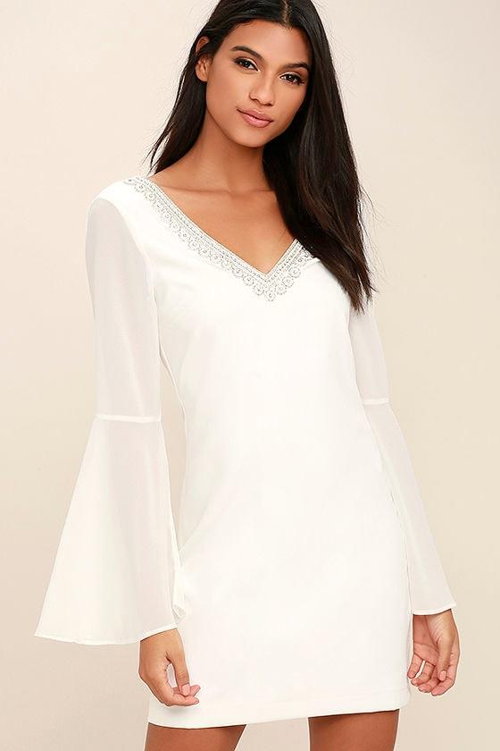 Stunning White Dress - LWD - Beaded Dress - Bell Sleeve Dress - $68.00