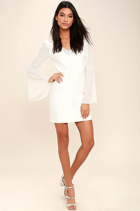 Leave the Light On White Beaded Long Sleeve Dress 2