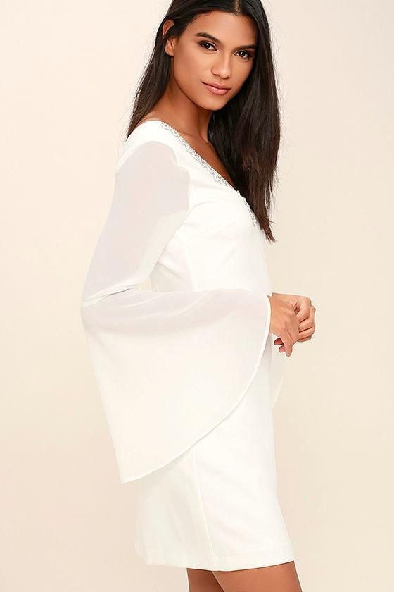 Leave the Light On White Beaded Long Sleeve Dress 3