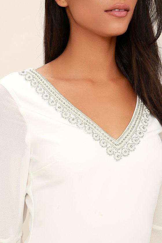 Leave the Light On White Beaded Long Sleeve Dress 5
