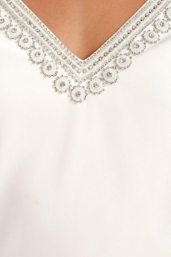 Leave the Light On White Beaded Long Sleeve Dress 6