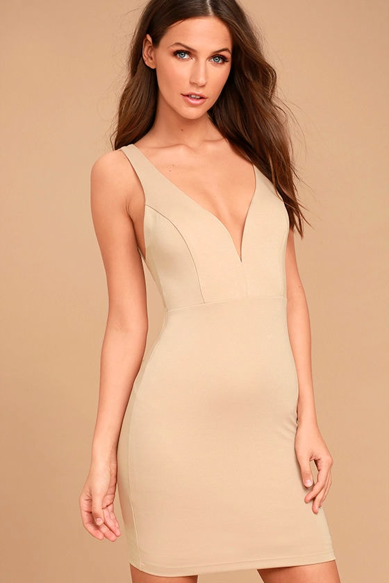 Perfect Pick Light Beige Bodycon Dress 1