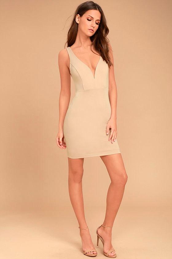 Perfect Pick Light Beige Bodycon Dress 2
