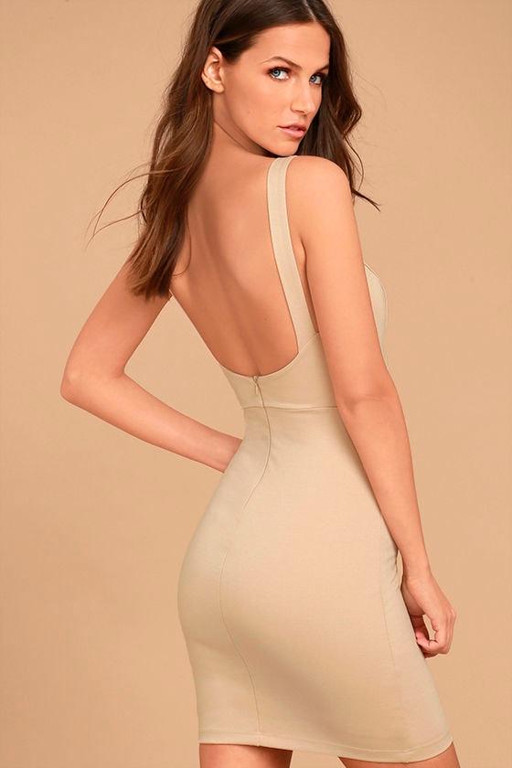 Perfect Pick Light Beige Bodycon Dress 3
