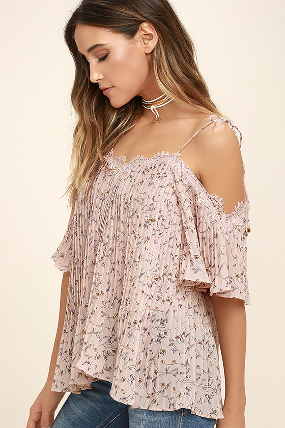 26e37f309c6698 Lovely Blush Pink Top - Floral Print Top - Off-the-Shoulder Top -  63.00
