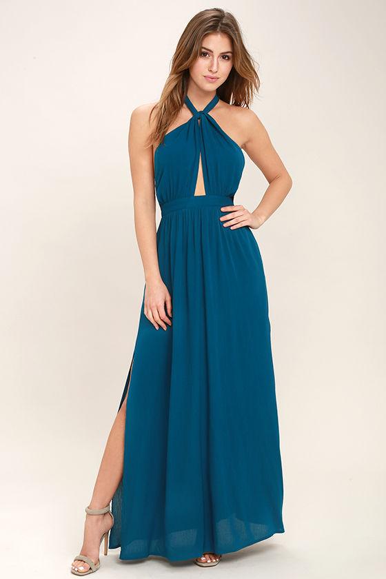 Sexy Teal Blue Dress - Maxi Dress - Halter Dress - $68.00