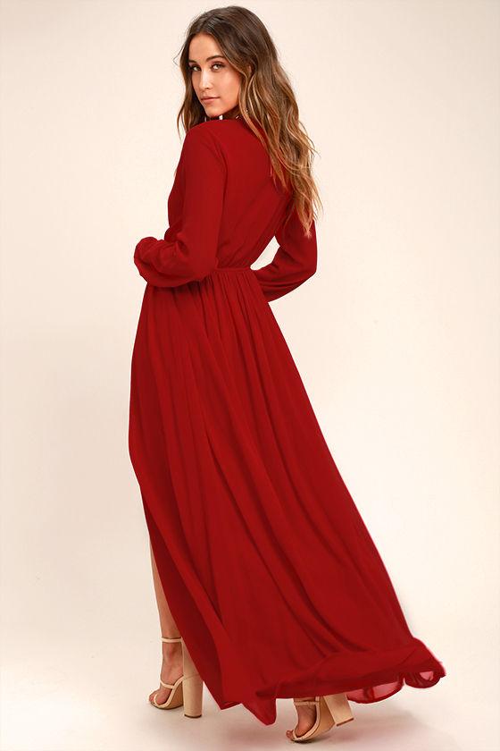 Wondrous Water Lilies Red Long Sleeve Maxi Dress 3