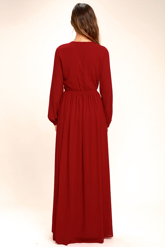 Wondrous Water Lilies Red Long Sleeve Maxi Dress 4