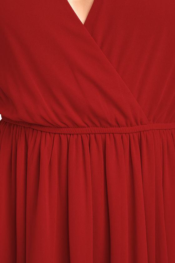 Wondrous Water Lilies Red Long Sleeve Maxi Dress 6