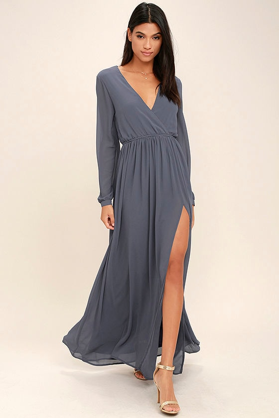 Wondrous Water Lilies Slate Grey Long Sleeve Maxi Dress 1