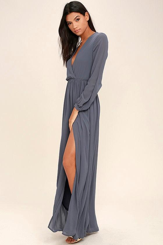 lovely slate grey dress - maxi dress - long sleeve dress - $78.00