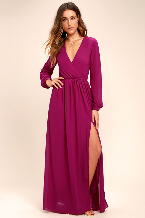 Wondrous Water Lilies Magenta Long Sleeve Maxi Dress 1