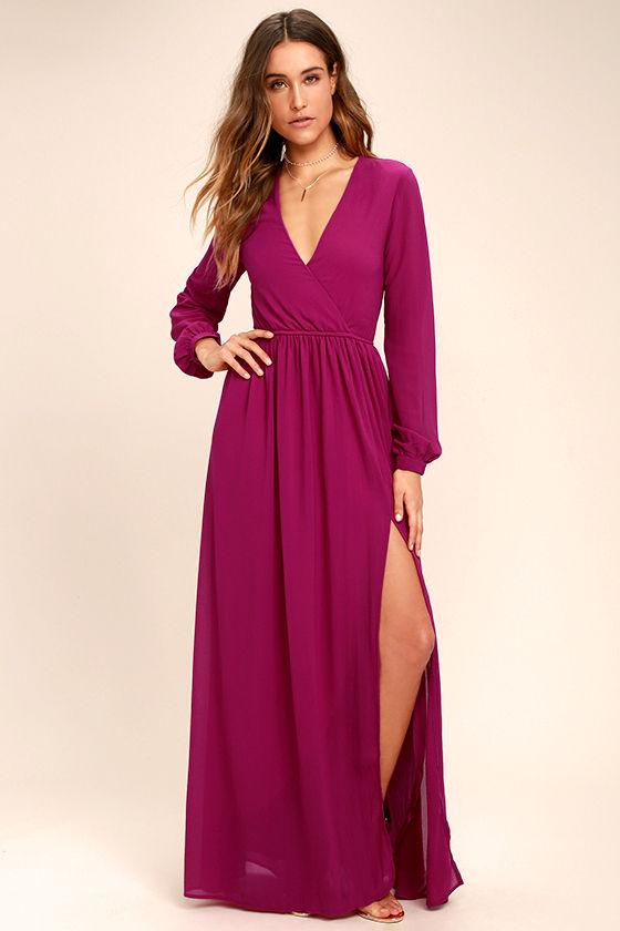 0c34a2a1a9c47 Lovely Magenta Dress - Maxi Dress - Long Sleeve Dress - $78.00