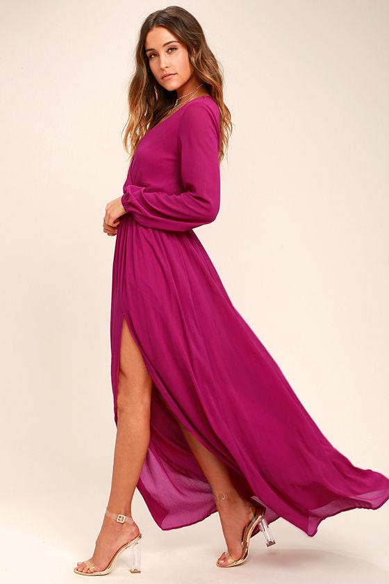 lovely magenta dress - maxi dress - long sleeve dress - $78.00