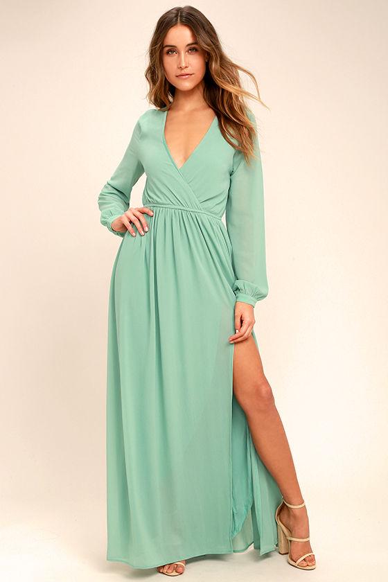 Lovely Sage Green Dress - Maxi Dress - Long Sleeve Dress - $78.00