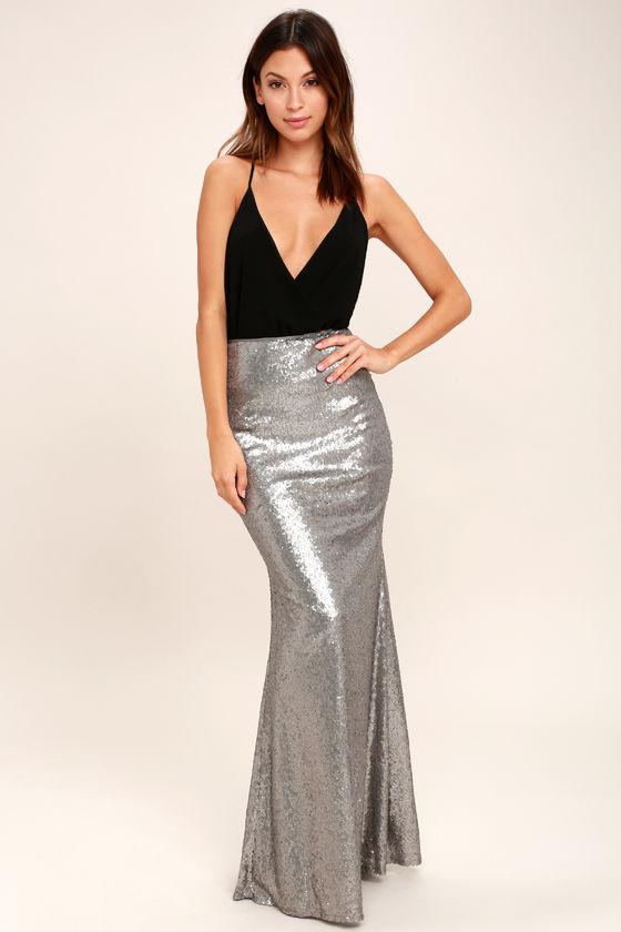 Lovely Gunmetal Skirt - Sequin Skirt - Maxi Skirt - $74.00