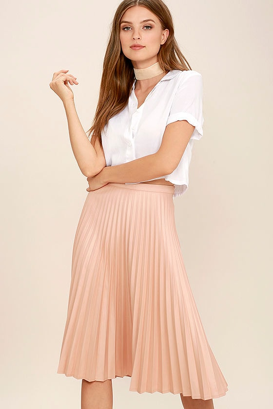 Retro Skirts: Vintage, Pencil, Circle, & Plus Sizes Like a Phenomenon Blush Pink Pleated Midi Skirt - Lulus $49.00 AT vintagedancer.com