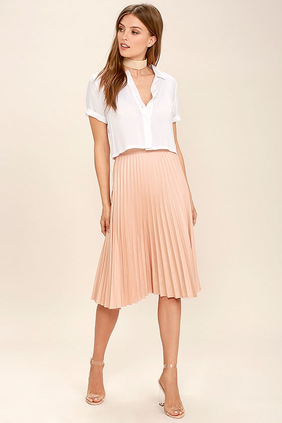 Blush Pink Skirt - Midi Skirt - High-Waisted Skirt - Pleated Skirt ...