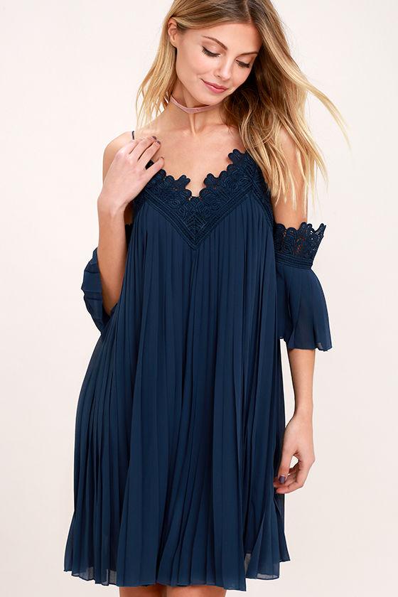 6e22258390db Lovely Navy Blue Dress - Off-The-Shoulder Dress - Lace Dress -  68.00