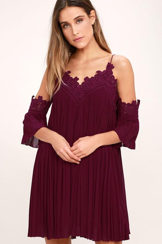 lovely burgundy dress - off-the-shoulder dress - lace dress - $68.00