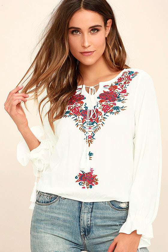 Merrymaking White Embroidered Long Sleeve Top 1