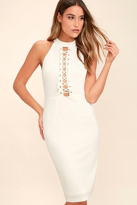 sexy white dress laceup dress bodycon dress midi
