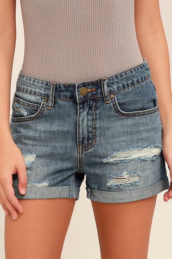 Billabong Frankie Medium Wash Distressed Jean Shorts 1