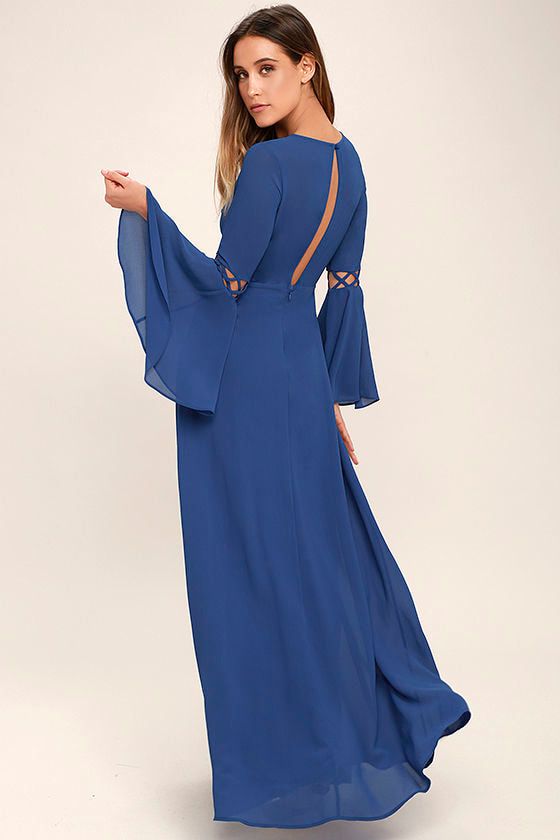 Lovely Denim Blue Dress - Long Sleeve Dress - Maxi Dress - Cutout ...