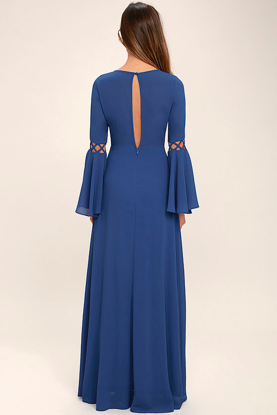 Now is the Time Denim Blue Long Sleeve Maxi Dress 4