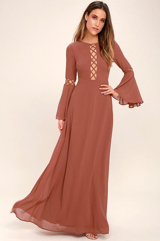 lovely rusty rose dress - long sleeve dress - maxi dress - cutout