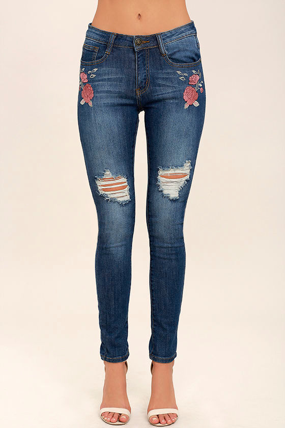 Flower Child Medium Wash Embroidered Distressed Skinny Jeans 2