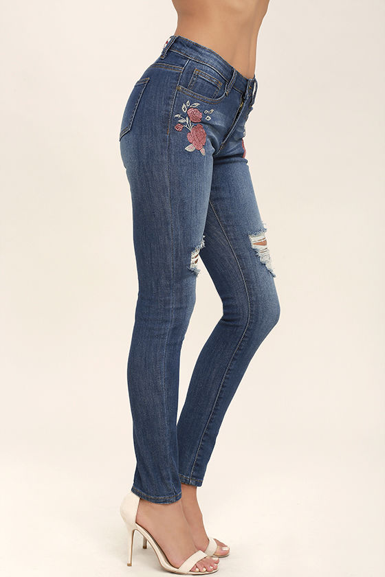 Flower Child Medium Wash Embroidered Distressed Skinny Jeans 3