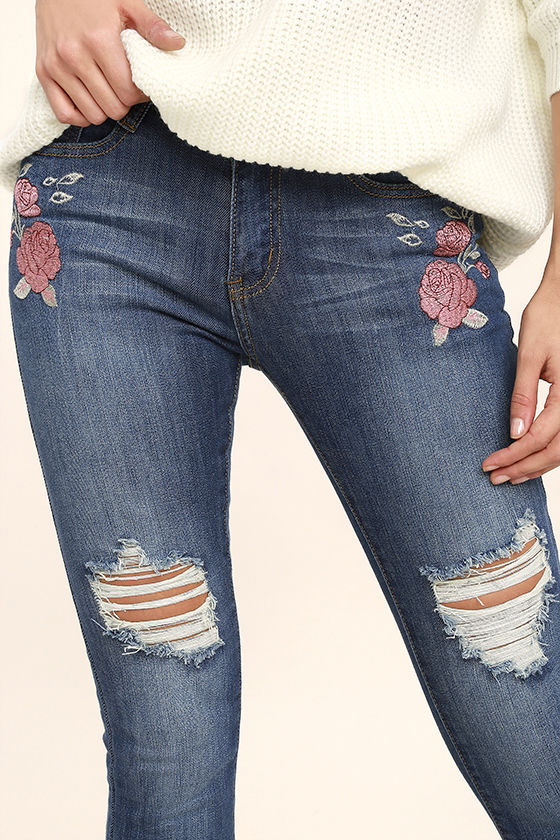 Flower Child Medium Wash Embroidered Distressed Skinny Jeans 5