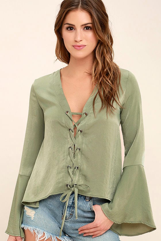 Lovely Sage Green Top - Long Sleeve Top - Lace-Up Top - Satin Blouse -   43.00 b27c5da13