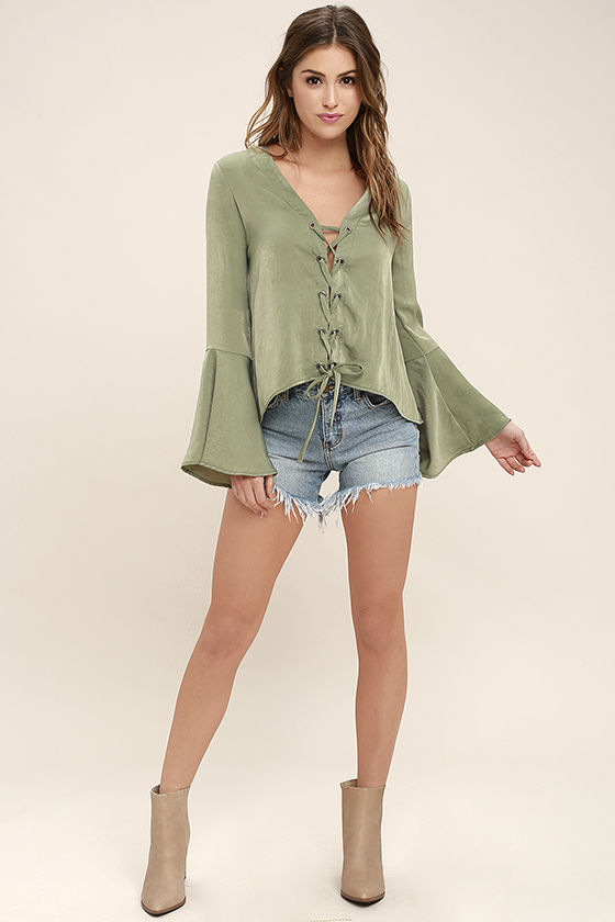 818f31653d833c Lovely Sage Green Top - Long Sleeve Top - Lace-Up Top - Satin Blouse ...