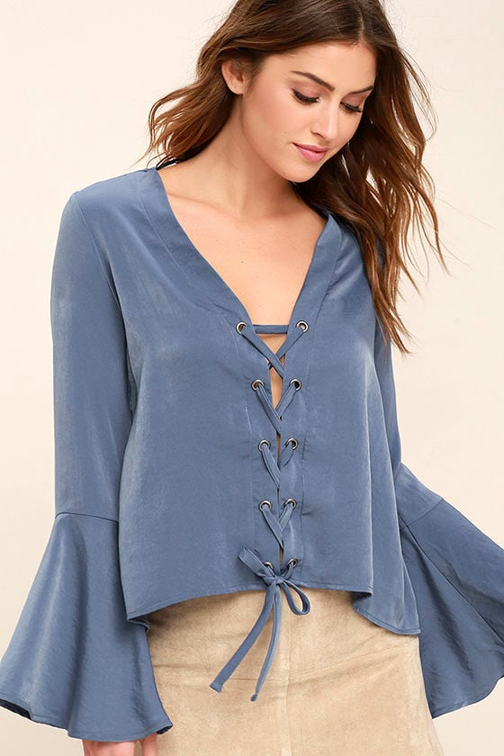 Lovely Slate Blue Top - Long Sleeve Top - Lace-Up Top - Satin Blouse ... d40ab90bb