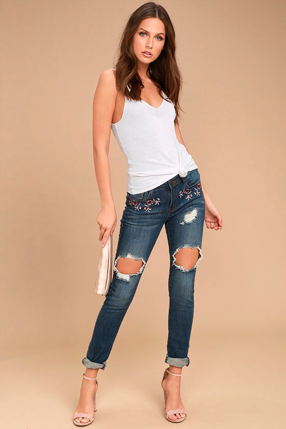 My Sunshine Medium Wash Embroidered Distressed Skinny Jeans 1