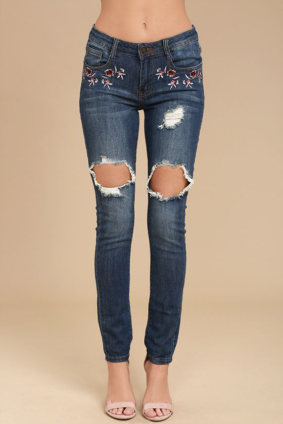 My Sunshine Medium Wash Embroidered Distressed Skinny Jeans 2