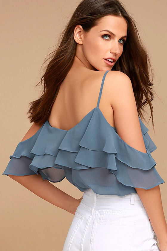 Feeling Sentimental Slate Blue Off-the-Shoulder Top 3
