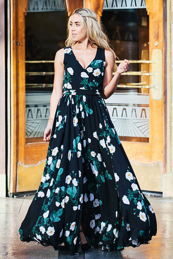 Lovely Black Dress Floral Print Dress Maxi Dress 149 00