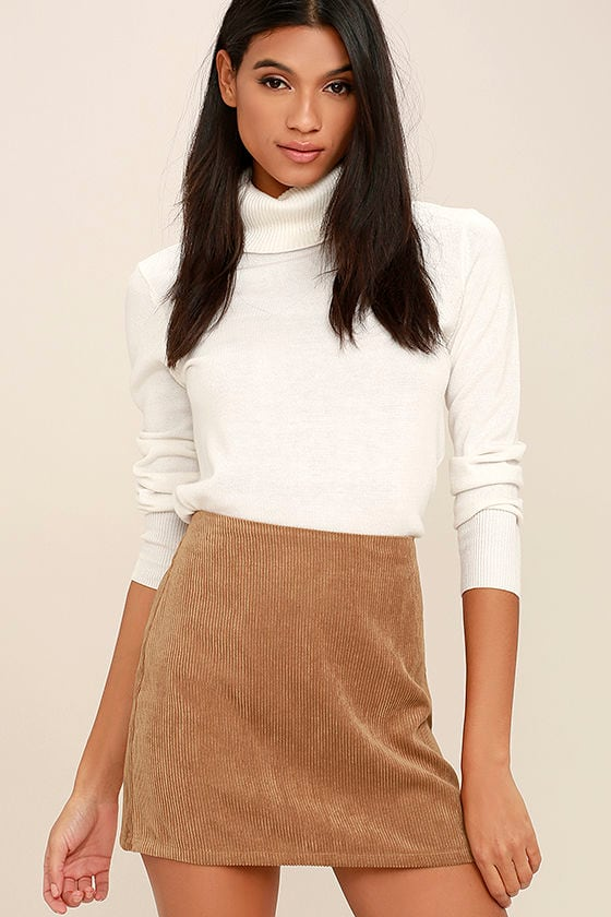 Cool Brown Skirt - Corduroy Skirt - Mini Skirt - $32.00