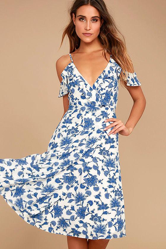 85e4f0ed9b6 Lovely Blue and White Dress - Floral Print Dress - Off-the-Shoulder Dress -  Midi Dress - $78.00