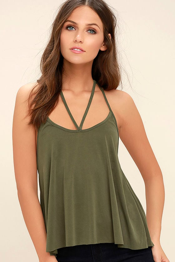 7b32c443eed Cool Olive Green Top - Tank Top - Strappy Top -  29.00
