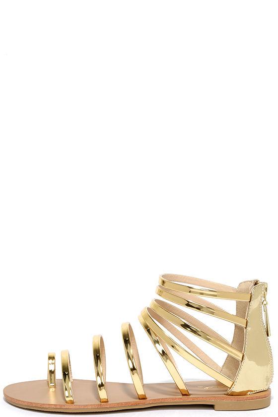 3cf414d34dc Cool Gold Sandals - Gladiator Sandals - Flat Sandals -  19.00