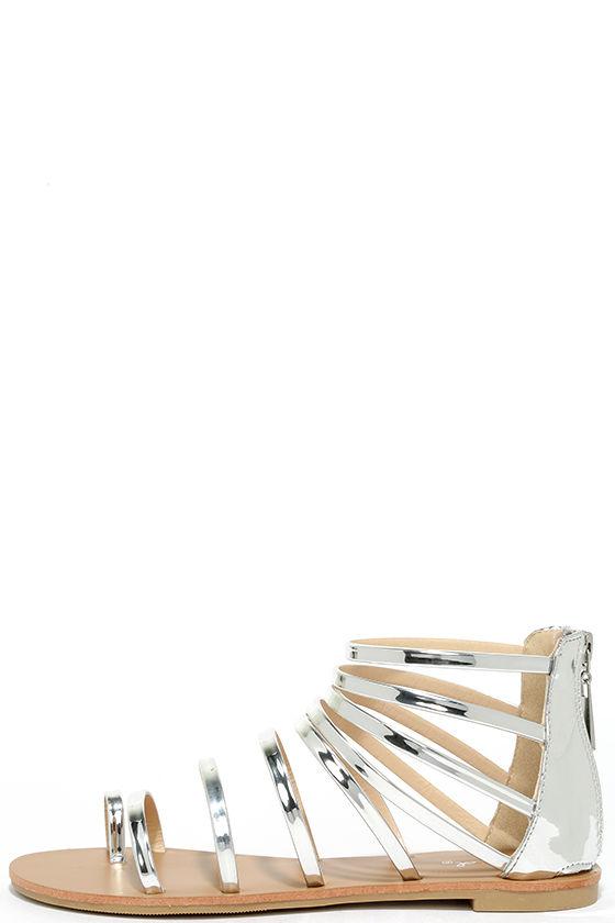 Wisdom Silver Gladiator Sandals 1