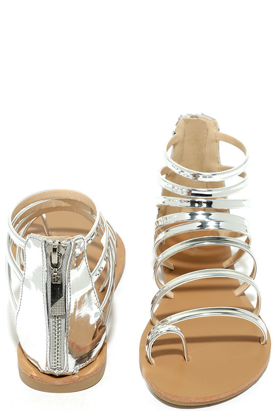 Wisdom Silver Gladiator Sandals 3