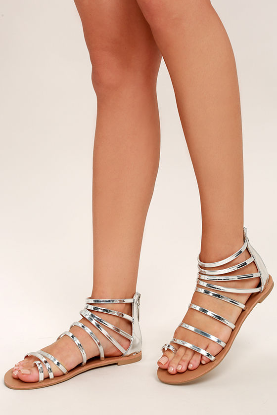 Wisdom Silver Gladiator Sandals 2