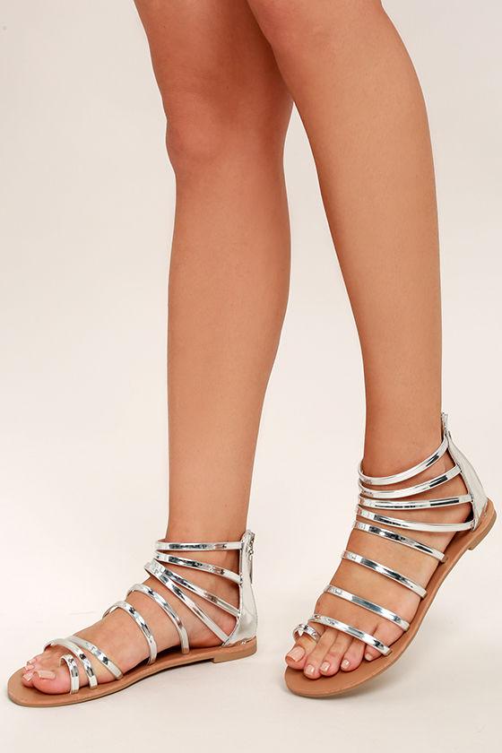d0049e23603 Cool Silver Sandals - Gladiator Sandals - Flat Sandals -  19.00