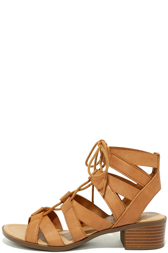 07a8f12f2e6 Cute Tan Sandals - Lace-Up Sandals - Vegan Leather Sandals -  27.00