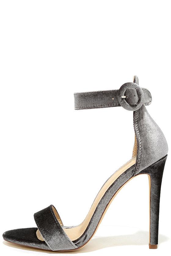 Sexy Grey Heels - Velvet Heels - Ankle Strap Heels - $27.00